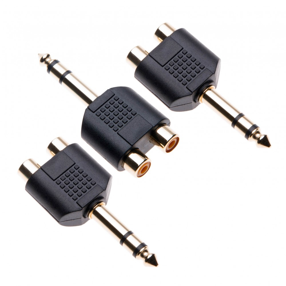 3 Pack 6.35mm to 2x RCA Adapter TRS Stereo Jack Male to Double Phono Connector 1/4 Inch Headphone Port to Two Phonos, Gold Plated Audio Y Splitter a