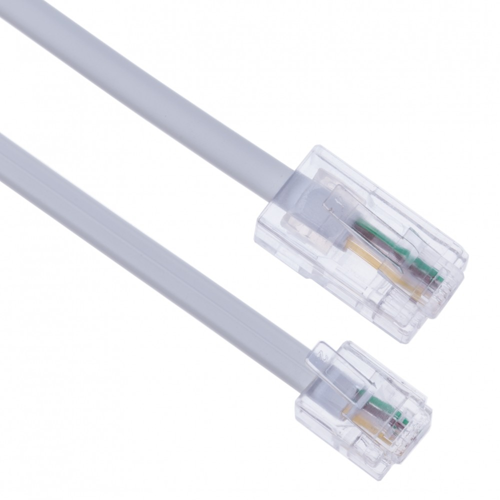 3m RJ11 to RJ45 Cable Ethernet Modem Data Telephone ASDL Patch Lead Broadband High Speed BT Internet Plug 6P4C to 8P8C Flat Network Extension Cord Compatible with Modem, Router, Landline Wire (White)