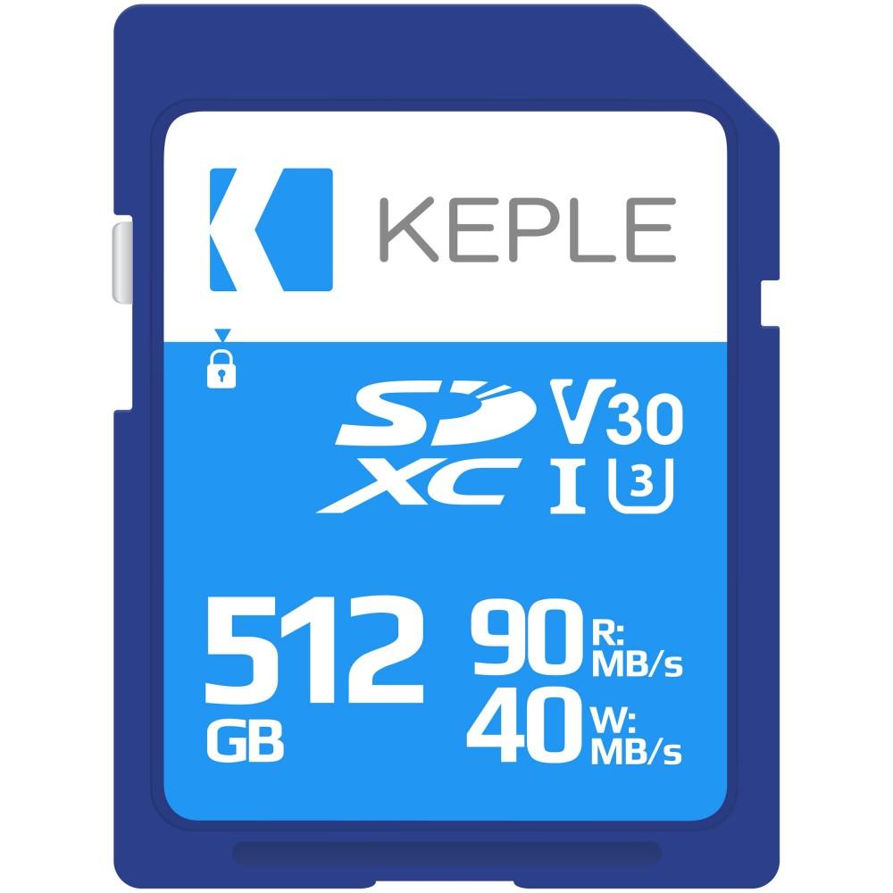 512GB SD Memory Card by Keple   High Speed SD Card for Camera / HD Videos & Photos   512 GB Storage Class 10 UHS-I U3 SDXC