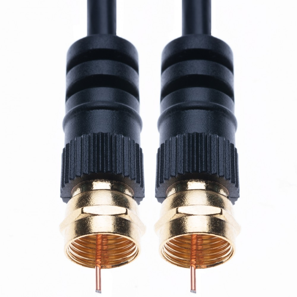 Coaxial Aerial Cable with Male F-F Pin Connectors for TV Satellite Sat Freesat Sky Virgin BT HDTV DVB DVD Radio – 3 m Black
