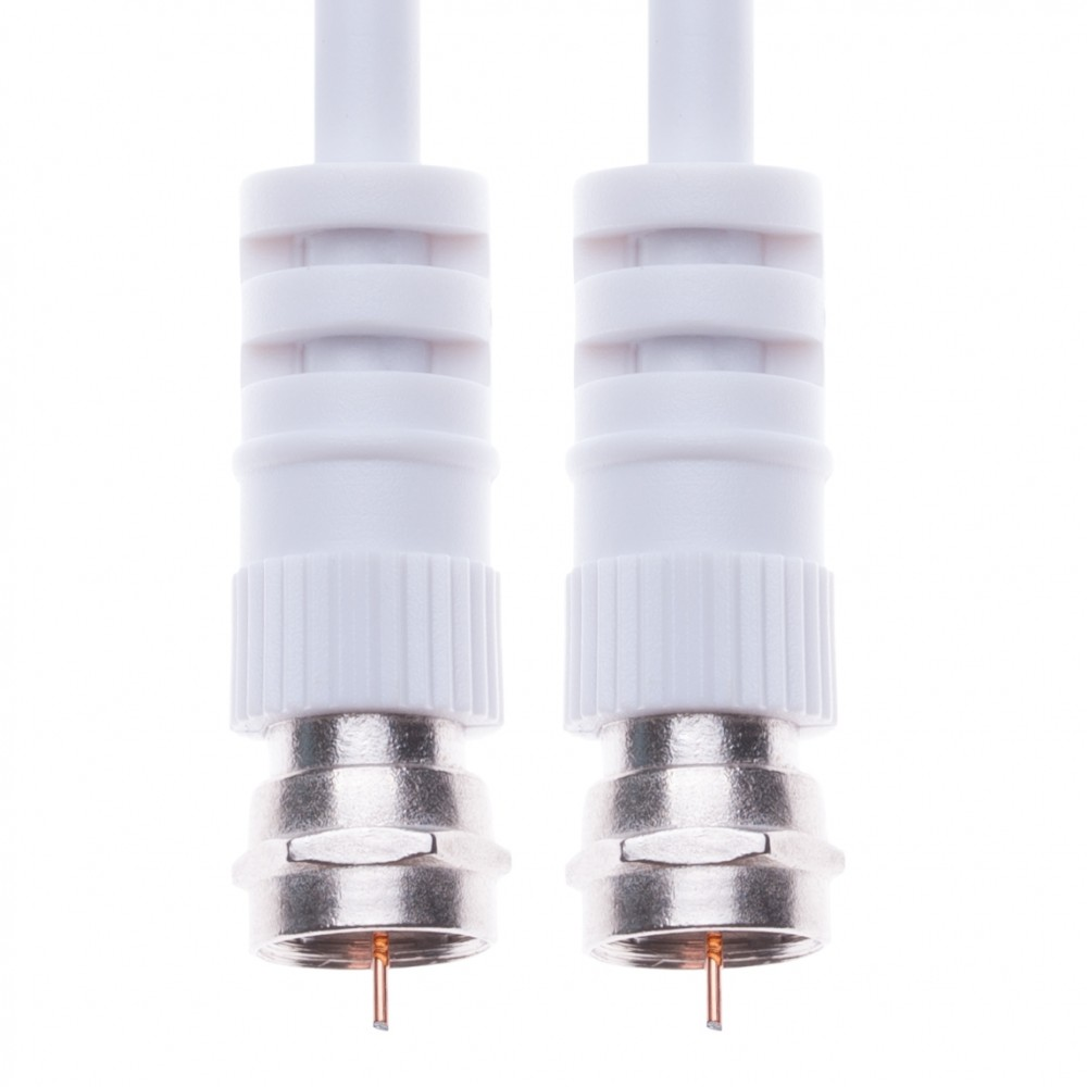 Coaxial Aerial Cable with Male F-F Pin Connectors for TV Satellite Sat Freesat Sky Virgin BT HDTV DVB DVD Radio – 1 m White
