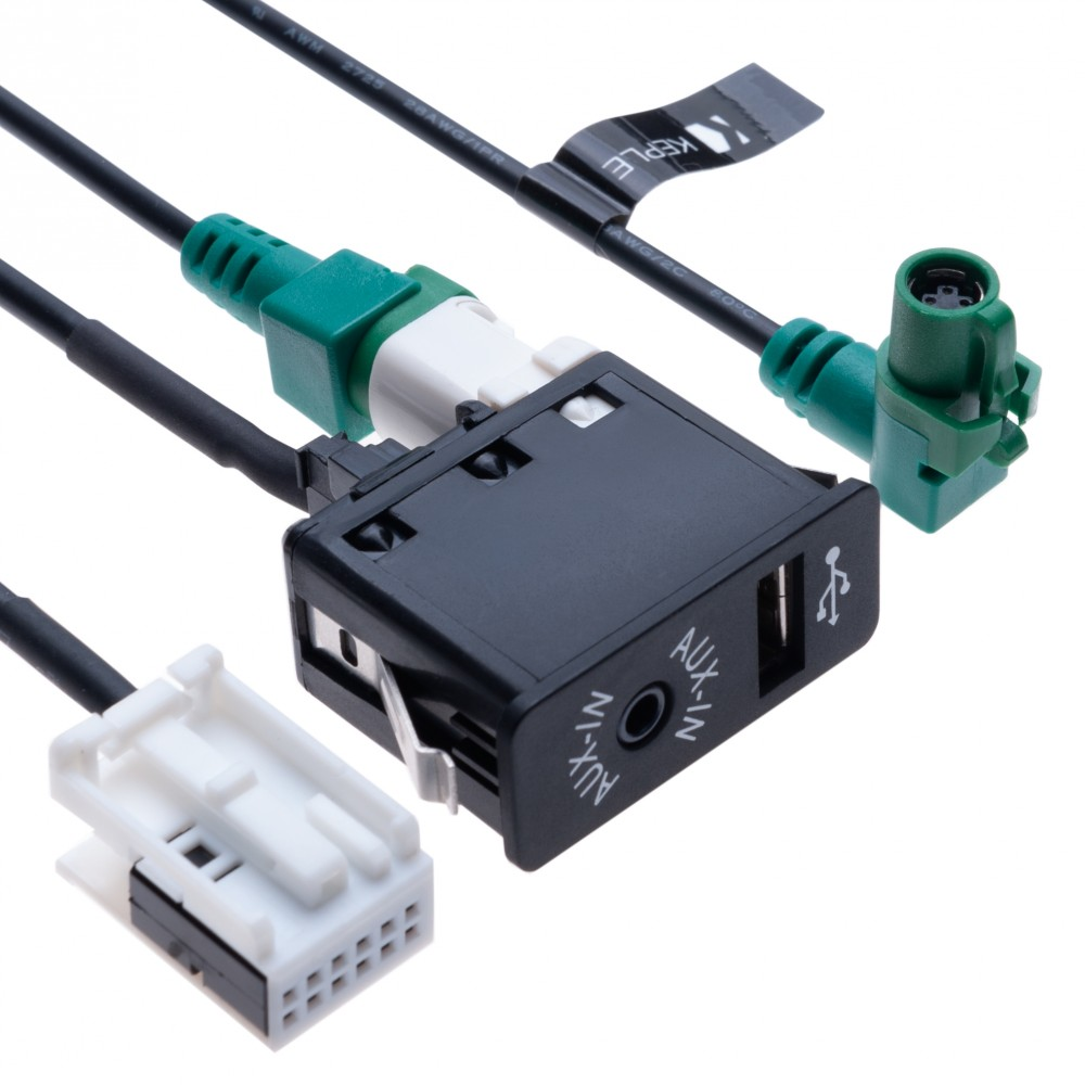 USB AUX Car Switch + USB 4 pin Connecting Wire + AUX 12 pin Harness Cable   Compatible with BMW 1 3 5 6 E81 E82 E87 E88 E90 E91 E92 E93 E60 E61 F07 F10 F11 E63 E64 F06 F12 F13  Vehicle radio   1.5 m