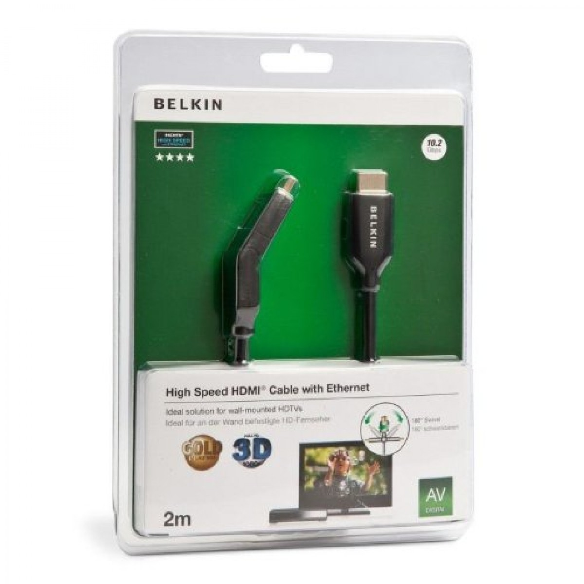 Belkin Hdmi Cable Male Dual Swivel With Ethernet Gold Plated In 2meter Black 2m
