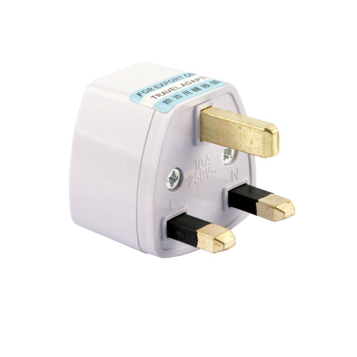 universal us au eu 2 3 pin to uk 3 pin travel power plug. Black Bedroom Furniture Sets. Home Design Ideas