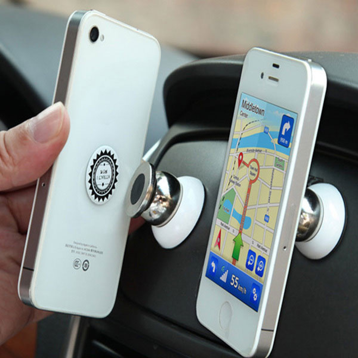 360 degree magnetic car holder for mobile cell phones tablets and cameras