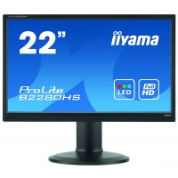 Iiyama ProLite B2280HS-B1DP 22 Black LED LCD Height Adjustable, TN, 5ms, 1 x VGA, 1 x Display Port, 1 x DVI-D, Pivot, Swivel, Tilt, Speakers a