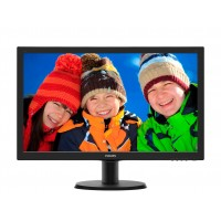 Philips V-line 243V5LHSB - LED monitor - 23.6 - 1920 x 1080 Full HD (1080p) - 250 cd/m² - 1000:1 - 5 ms - HDMI, DVI-D, VGA - textured black, black hairline a