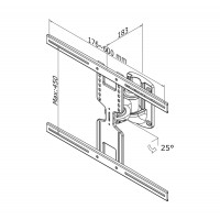 Newstar Flatscreen Wall Mount 32-60, 1 pivot, 1 screen, Tilt/Swivel, Vesa 200x200 to 600x400mm, Max 35kg, Silver a