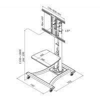 Newstar Mobile Flatscreen Floor Stand / Trolley 27-70, 1 screen, Tilt, Vesa 200x200 to 600x450mm, Height 80-180cm, max 50kg, Silver a