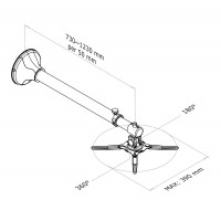 Newstar Projector Wall Mount, length: 79-129 cm = short throw, Max 11kg, Silver a