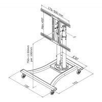 Newstar Mobile Flatscreen Floor Stand / Trolley 27-70, 1 screen, Tilt, Vesa 200x200 to 600x450mm, Height 80-120 cm, max 50kg, Silver a