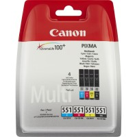 Canon CLI-551 - 6509B009 - 1 x Black,1 x Cyan,1 x Magenta,1 x Yellow - Multipack - Ink tank - For PIXMA iP8750,iX6850,MG5550,MG5650,MG5655,MG6450,MG6650,MG7150,MG7550,MX725,MX925 a