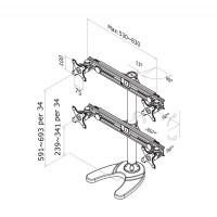 Newstar Flatscreen Desk Mount 10-30, stand/foot, 4 screens, 2 pivots, Tilt/Rotate/Swivel, Vesa 75x75 to 100x100mm, Height 0-70cm (manual), Max 32kg, Black a