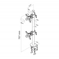 Newstar Flatscreen Desk Mount Vertical 10-27, clamp, 2 screens ONE ABOVE OTHER, 1 pivot, Tilt/Rotate/Swivel, Vesa 75x75 to 100x100mm, Height 0-70cm (manual), Max 12kg, Black a
