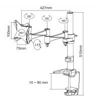 Newstar Flatscreen Desk Mount 10-30, clamp, 1 screen, 3 pivots, Tilt/Rotate/Swivel, Vesa 75x75 to 100x100mm, Height 0-40cm (manual), Max 9kg, Silver a