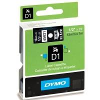 DYMO D1 Tape 12mm white on Black a