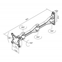 Newstar Flatscreen Wall Mount 10-30, 1 screen, 3 pivots, Tilt/Rotate/Swivel, Vesa 75x75 to 100x100mm, Max 10kg, Silver a