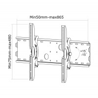 Newstar Flatscreen Wall Mount 37-85, 1 screen, Tilt, Vesa 200x200 to 865x480mm, Max 100kg, Silver a