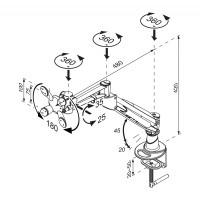 Newstar Flatscreen Desk Mount 10-37, clamp, 1 screen, 3 pivots, Tilt/Rotate/Swivel, Vesa 75x75 to 100x100mm, Height 0-42cm (gas spring), Max 15kg, Silver a