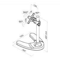 Newstar Flatscreen Desk Mount 10-24, stand, 1 screen, 1 pivot, Tilt/Rotate/Swivel, Vesa 75x75 to 100x100mm, Height 15-40cm (manual), Max 10kg, Black a