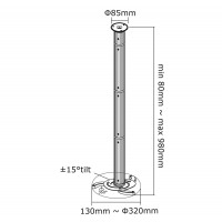Newstar Projector Ceiling Mount, height: 8-98 cm, Tilt/Rotate/Swivel, Max 15kg, Silver a