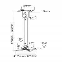 Newstar Projector Ceiling Mount, height: 58-83 cm, Tilt/Rotate/Swivel, Max 15kg, Silver a