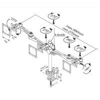Newstar Flatscreen Desk Mount 10-30, clamp, 2 screens, 3 pivots, Tilt/Rotate/Swivel, Vesa 75x75 to 100x100mm, Height 0-50cm (manual), Max 15kg, Silver a