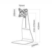 Newstar Flatscreen Desk Mount 10-27, stand, 1 screen, 1 pivot, Tilt/Rotate, Vesa 75x75 to 100x100mm, Height 13-39cm (manual), Max 10kg, Silver a