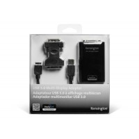 Kensington USB 3.0 Universal MultiView Display Adapter K33974EU - allows a secondary screen ( DVI or VGA) to be added to your laptop or tablet a
