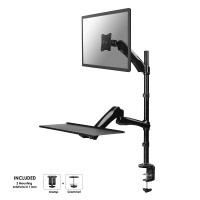"NewStar Desk Mount (clamp & grommet) for a Monitor (10-27 screen) AND Keyboard & Mouse (Height Adjustable) - Black. Tilt and Swing desk mount suitable for screens between 10"" and 27"" and up to 9kg max.  Depth up to 56cm. . Height Adjustable.This model all"