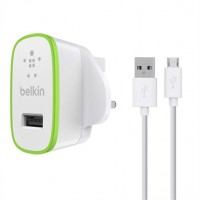 Belkin USB AC Wall Plug Charger with Micro-USB Charge and Sync Cable 2.1amp in White for Universal Smartphones and Tablets (UK Plug) F8M667uk04-WHT a