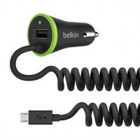 Belkin UltraFast 3.4 AMP USB Car charger with USB Pass through + coiled Micro USB Cable a