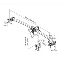 Newstar Flatscreen Desk Mount 10-27, clamp, 3 screens, 1 pivot, Rotate/Swivel, Vesa 75x75 to 100x100mm, Height 32-42cm (manual), Max 24kg, Black a