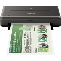 Canon PIXMA IP110 Portable Wireless Colour Printer with Battery. Wireless Print, Cloud. Up to 9600¹ x 2400 dpi, 2 ink cartridges: Black (Pigment BK) and Colour (BK, C, M, Y) Inkjet FINE print head with 1pl (min.) ink droplet size ChromaLife100 inks. Borde