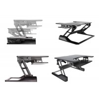 Newstar Sit-Stand Desktop Workstation - Black. This ergonomic product holds up to 15kg, while staying steady and solid at any height (13-50cm). Large work surface (90 x 64 cm) accommodates two monitors or a monitor and a laptop. Ergonomic keyboard tray (7