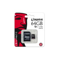Kingston - Flash memory card (microSDXC to SD adapter included) - 64 GB - UHS Class 1 / Class10 - microSDXC UHS-I a
