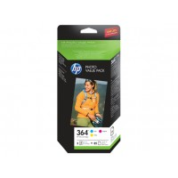 HP 364 Series Photo Value Pack - 3-pack - yellow, cyan, magenta - blister - print cartridge / paper kit - for Photosmart Premium Fax C410 a