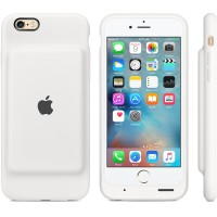 Apple Smart - Battery case back cover for mobile phone - silicone, elastomer - white - for iPhone 6, 6s a