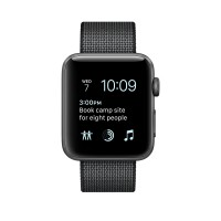 Apple Watch Series 2 - 38 mm - space grey aluminium - smart watch with band - woven nylon - black - 125-195 mm - Wi-Fi, Bluetooth - 28.2 g a