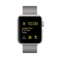 Apple Watch Series 2 - 42 mm - silver aluminium - smart watch with band - woven nylon - pearl - 145-215 mm - Wi-Fi, Bluetooth - 34.2 g a