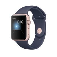 Apple Watch Series 2 - 42 mm - rose gold aluminium - smart watch with sport band - fluoroelastomer - midnight blue - S/M/L size - Wi-Fi, Bluetooth - 34.2 g a
