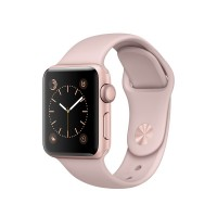 Apple Watch Series 2 - 38 mm - rose gold aluminium - smart watch with sport band - fluoroelastomer - pink sand - S/M/L size - Wi-Fi, Bluetooth - 28.2 g