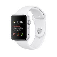 Apple Watch Series 1 - 42 mm - silver aluminium - smart watch with sport band - fluoroelastomer - white - S/M/L size - Wi-Fi, Bluetooth - 30 g
