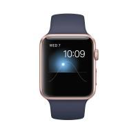Apple Watch Series 1 - 42 mm - rose gold aluminium - smart watch with sport band - fluoroelastomer - midnight blue - S/M/L size - Wi-Fi, Bluetooth - 30 g a