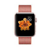 Apple Watch Series 2 - 42 mm - rose gold aluminium - smart watch with band - woven nylon - space orange/anthracite - 145-215 mm - Wi-Fi, Bluetooth - 34.2 g b