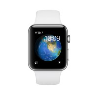 Apple Watch Series 2 - 42 mm - stainless steel - smart watch with sport band - fluoroelastomer - white - S/M/L size - Wi-Fi, Bluetooth - 52.4 g a