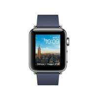 Apple Watch Series 2 - 38 mm - stainless steel - smart watch with modern buckle - leather - midnight blue - Medium - Wi-Fi, Bluetooth - 41.9 g a