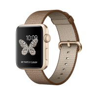Apple Watch Series 2 - 42 mm - gold aluminium - smart watch with band - woven nylon - toasted coffee/caramel - 145-215 mm - Wi-Fi, Bluetooth - 34.2 g