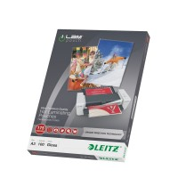 Leitz - 100 - glossy, Crystal Clear - A3 (297 x 420 mm) lamination pouches (laminating consumables) a