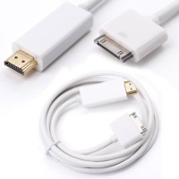 Apple 30-Pin Dock Connector to HDMI for iPad 1/2/3, iPhone 4/4S & iPod Connecting to TV, HDTV, LCD, Monitor, Projector | 1.8M White